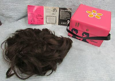 Retro 1960's Mod Twiggy Carousel Wig w Old Pink Vinyl Carrying Case Box FREE S/H