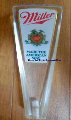 Vtg Miller Beer Acrylic Mini Tap Handle Made The American Way Old Style Logo