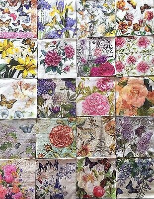 30 Mixed Paper Napkins Decoupage FLORAL Mixed Assorted Beverage Craft HUGE LOT