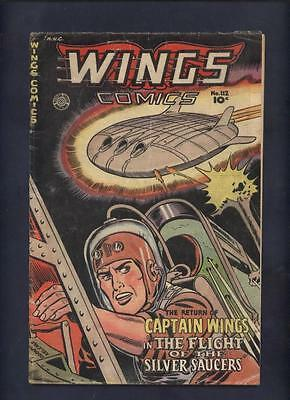 Wings 112 Fiction House golden age war comic classic Flying saucer cover
