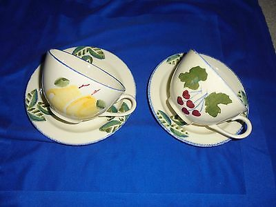 "2 POOLE POTTERY ~ DORSET FRUITS  ""Cherry & PEAR "" ~ SPONGEWARE CUPS & SAUCERS"
