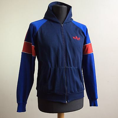 vtg RARE ADIDAS MADE IN ROMANIA HOODED TRACKSUIT SPORTS JACKET TRACK TOP S/XS