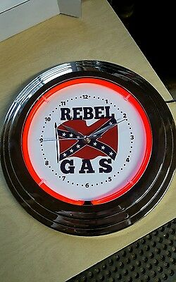 REBEL GAS Neon Wall Clock sign vintage look service Station gasoline pump dixie