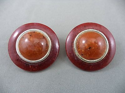 Retro End of Day Speckled Plastic Silvertone Flying Saucer Clip On Earrings