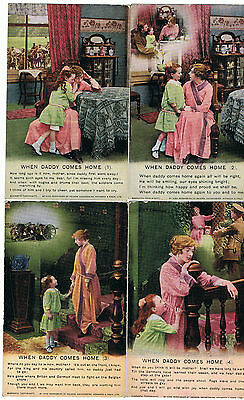 Set Of 4 Bamforth Song Series No 4860 When Daddy Comes Home