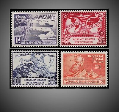 1949 Falkland Islands  Dependencies Upu Issue Scott 1L14-17