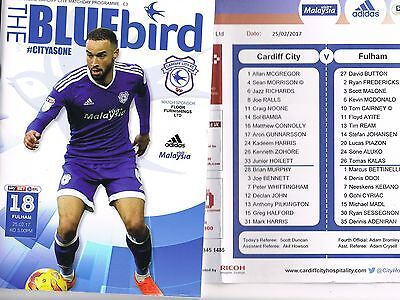 Cardiff City v Fulham 16/17 + Official Teamsheet