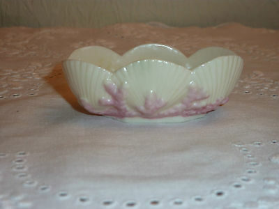 Antique 1st Period Black Mark Belleek China Salt Dish - Shells and Pink Coral