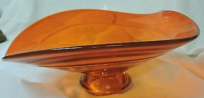 """Viking Glass ORANGE/PERSIMMON MID-CENTURY  Footed Compote Candy Bowl 9"""""""