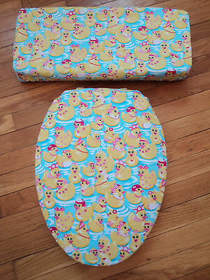 Girly Girl Rubber Duckies Ducky Bathroom Decor Toilet Seat Cover Set