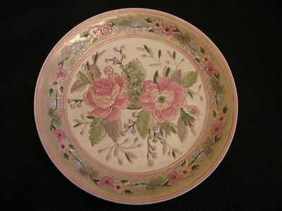 """ORIENTAL 10"""" DECORATIVE WALL PLATE PINK/GREEN ROSES in BAS-RELIEF MINT!!"""