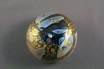 Stunning Isle Of Wight 'gold Leafed' Studio Glass Paperweight & Label - Perfect