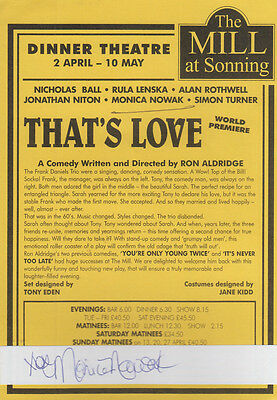 Monica Nowak The Mill at Sonning Thats Love Premiere Hand Signed Theatre Flyer