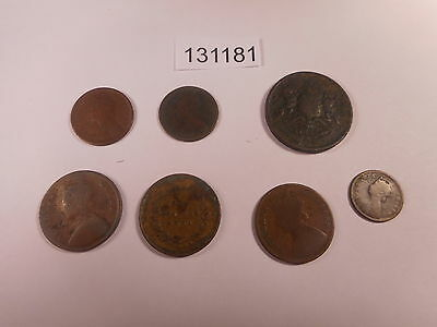 Lot - Seven Mixed India Coins 1830's-1890's Lower Grade Damaged - # 131181