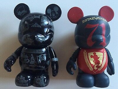 Disney Vinylmation Cast Chaser & Park Icons Black Gray Outline Lot of 2 Figures!