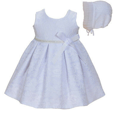 Cinda Baby Girl White Lace Christening Dress Party Dress with Bonnet 12-18 Month