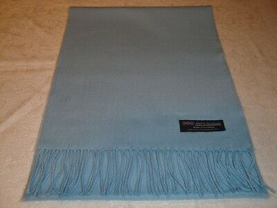 100% Cashmere Scarf Soft 72X12 Solid Light Blue Made in Scotland Wool Women Wrap