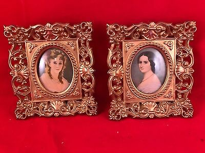 Pair Of Vintage 1960's Era Gold Plastic Framed Cameo Pictures With Convex Glass