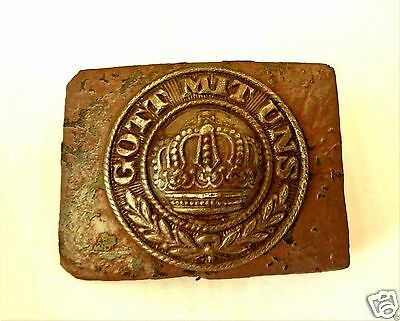 Original WW1 German Army Uniform Belt Buckle Prussia GOTT MIT UNS.