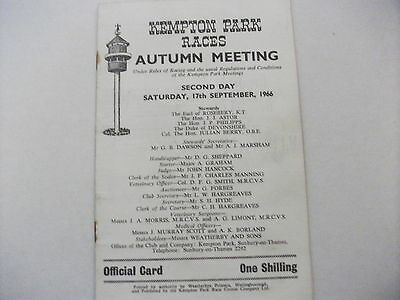 Kempton Park Race Card 17Th September,1966 - The Imperial Stakes
