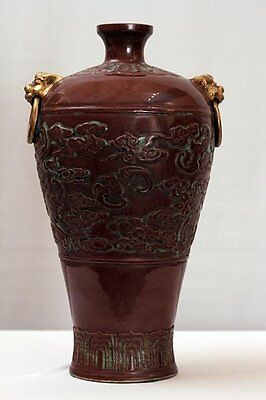 Vintage - Antique Molded Chinese vase with Bats