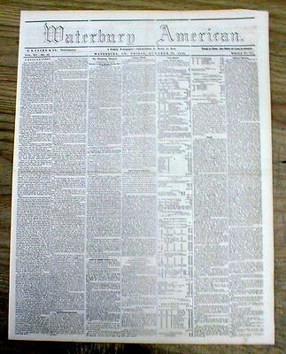 1859 newspaper JOHN BROWN CAPTURED Anti-slavery raid HARPERS FERRY West Virginia