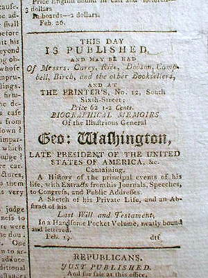 Original 1800 Philadelphia PA  newspaper w GEORGE WASHINGTON DEATH notice as ad
