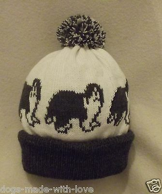 OLD ENGLISH SHEEPDOG dog WITH TAIL Knitted CHARCOAL GREY Adult bobble HAT