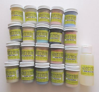 Complete Hues To Fuse Glass Fusing Paints ~ 20 Colors~Glass Media~Applicator