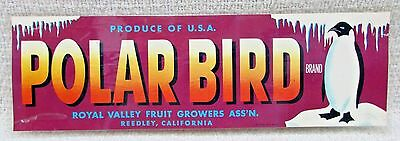 Polar Bird Penguin Royal Valley Fruit Growers Reedley CA Box End Label FREE S/H