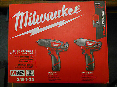 "Brand New Milwaukee 2494-22 M12 Cordless 3/8"" Drill/driver & 1/4"" Hex Driver Kit"