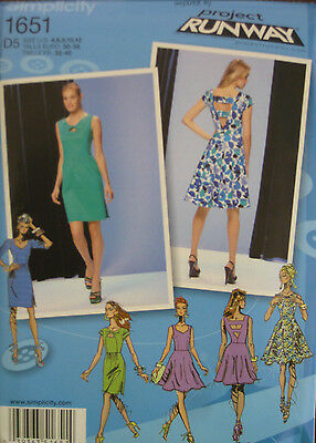 Simplicity Misses PROJECT RUNWAY Fitted Flared Keyhole Dress Pattern 1651 4-12