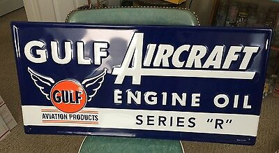 Gulf~Aviation Engine Oil Aircraft Series 'r' Embossed~Metal Sign Licensed