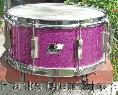 Vintage Ludwig 6.5x14 Snare Drum Maple Shell Purple Sparkle