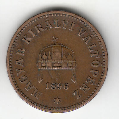 Hungary 2 Filler 1896 Crown Copper    290K                By Coinmountain