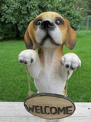 BEAGLE WELCOME STATUE FIGURINE PUPPY RESIN PET CANINE 14 in. standing garden new