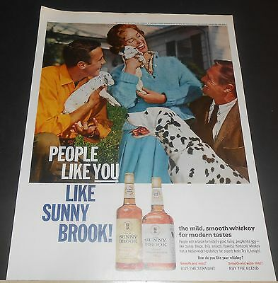 1959 Sunny Brook Whiskey Men/woman Dalmatian Pups & Mom Ad /or Kelly Tires Chevy