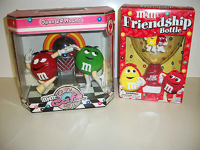 M&M's Candy Dispensers Lot Rock'n Cafe and Friendship Bottle in Boxes