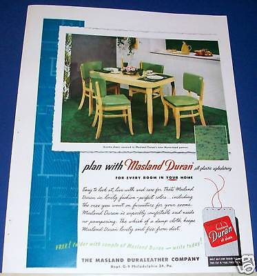1951 Masland Duran plastic upholstery kitchen table & chairs Ad