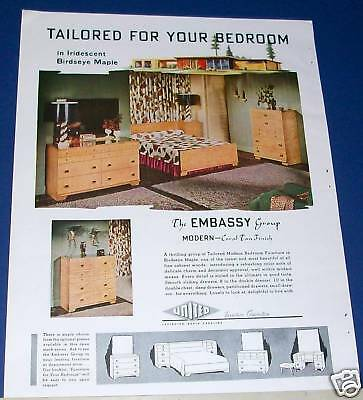 1950 United maple bedroom furniture Embassy Group Ad