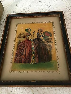 Antique Vintage Made France Marked Painted Glass French Fashion Ladies Picture