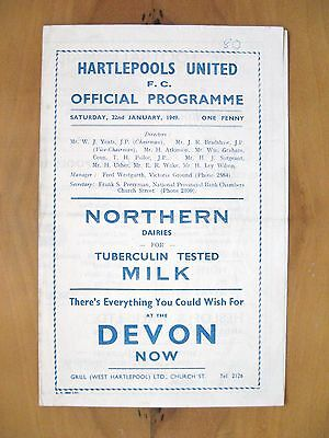 HARTLEPOOL UNITED v SOUTHPORT 1948/1949 *Exc Condition Football Programme*