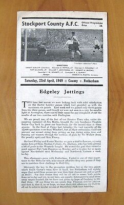 STOCKPORT COUNTY v ROTHERHAM UNITED 1948/1949 *VG Condition Football Programme*