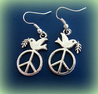 Dove of Peace Earrings Jewelry - DOVE with Peace symbol sign - Retro style
