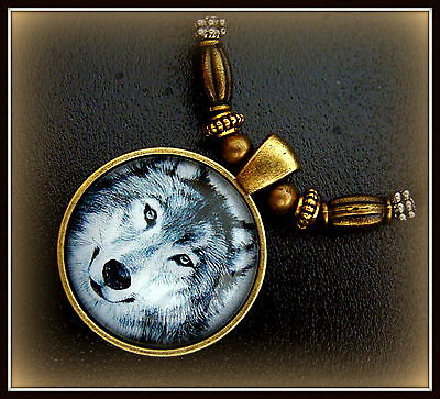 Striking WOLF Head Necklace Pendant Jewelry - Glass Cabochon - Unique Beadwork