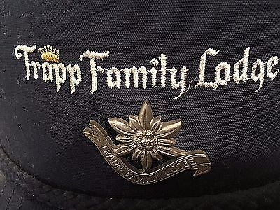 Trapp Family Lodge Souvenir Trucker Hat with Pewter Edelweiss Pin Stowe VT Vtg