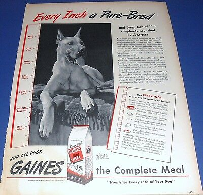 1944 GREAT DANE Gaines Dog Meal Ad