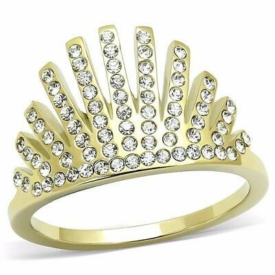 Top Grade Clear Crystal Set in Gold IP Stainless Steel Crown Band SZ 5-10