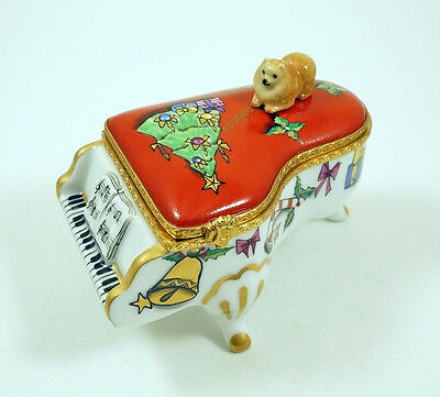 New French Limoges Trinket Box Pomeranian Dog On Grand Piano W/ Christmas Tree