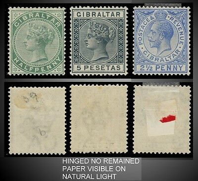 1887 1889 1921  Gibraltar Q Victoria And King George V Small Lot Mint Sct8,38,80